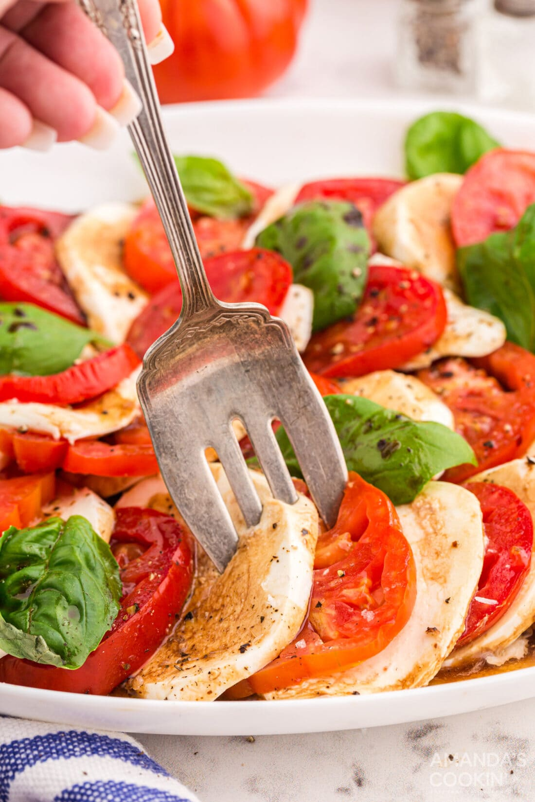 Caprese Salad with fork