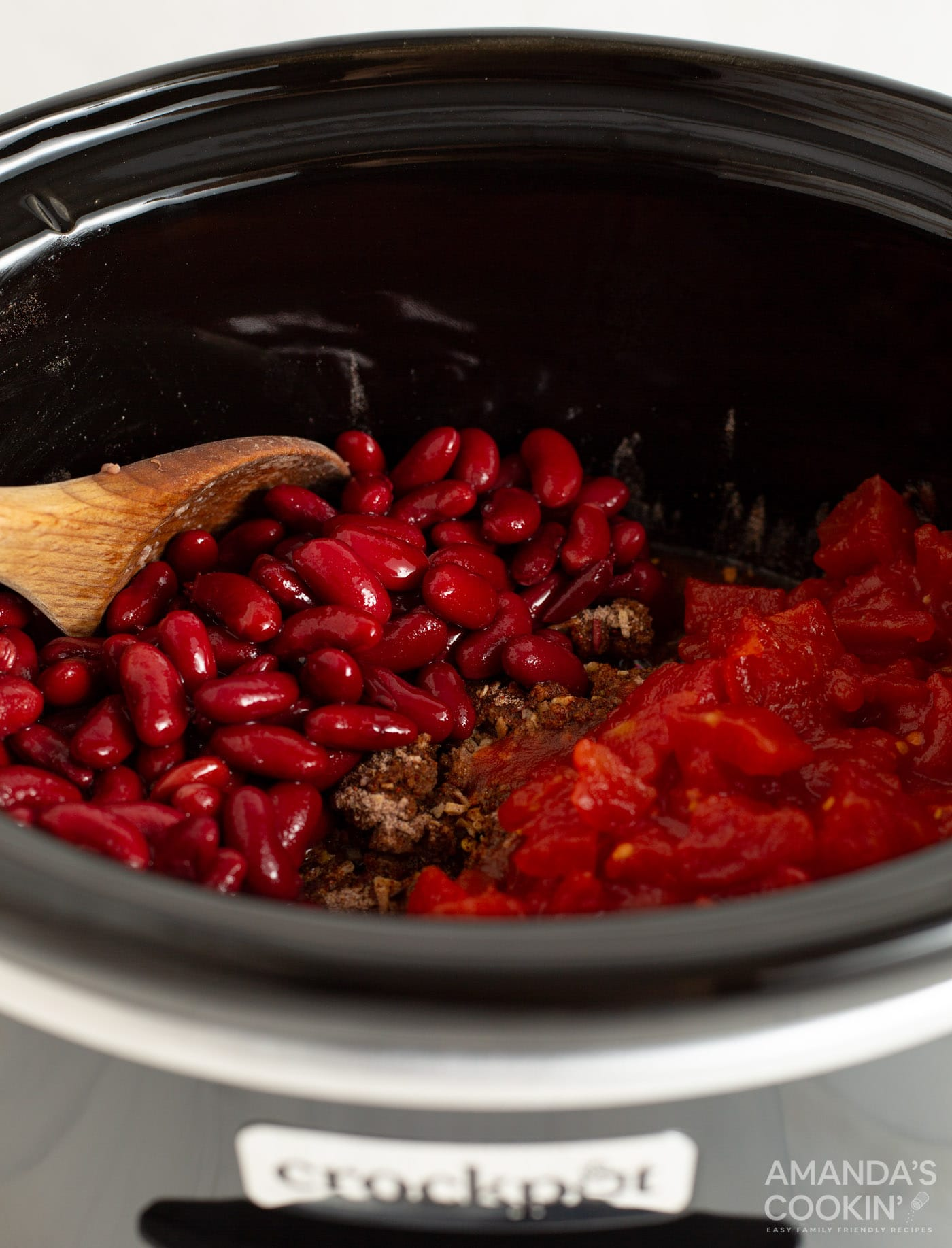 chili ingredients in a crockpot
