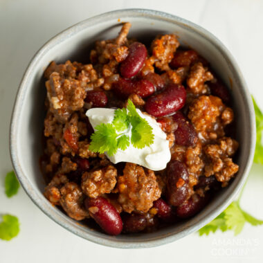 Crockpot Chili in a bowl