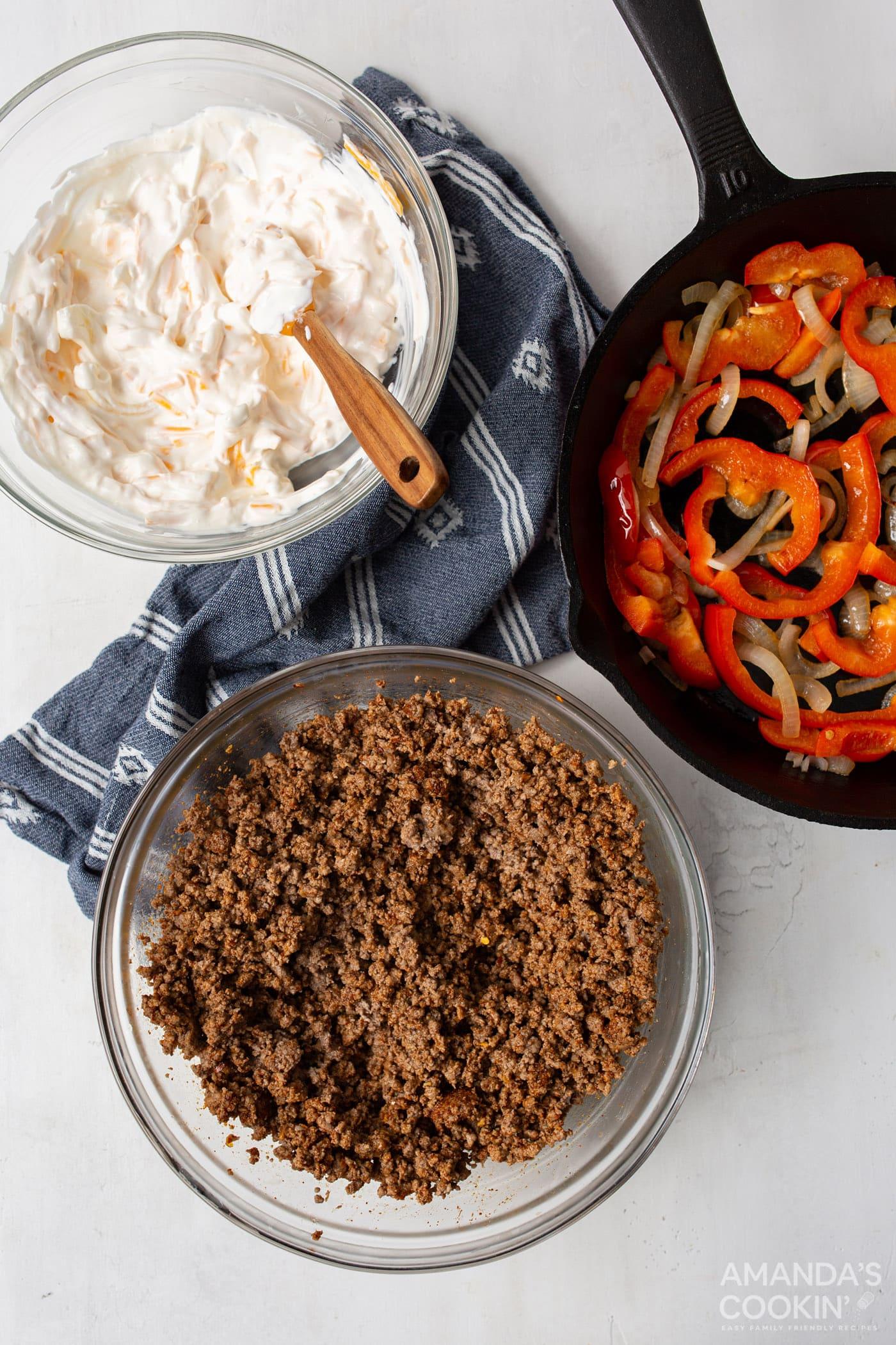 ground beef, sour cream mixture, and veggies overhead