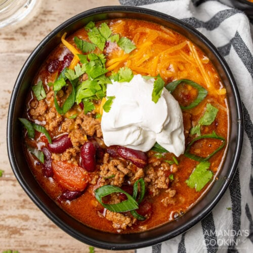 bowl of Instant Pot Chili