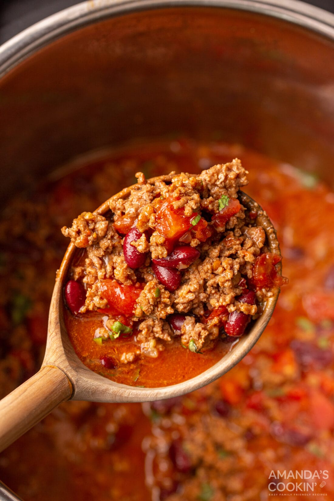 wooden spoon of Instant Pot Chili