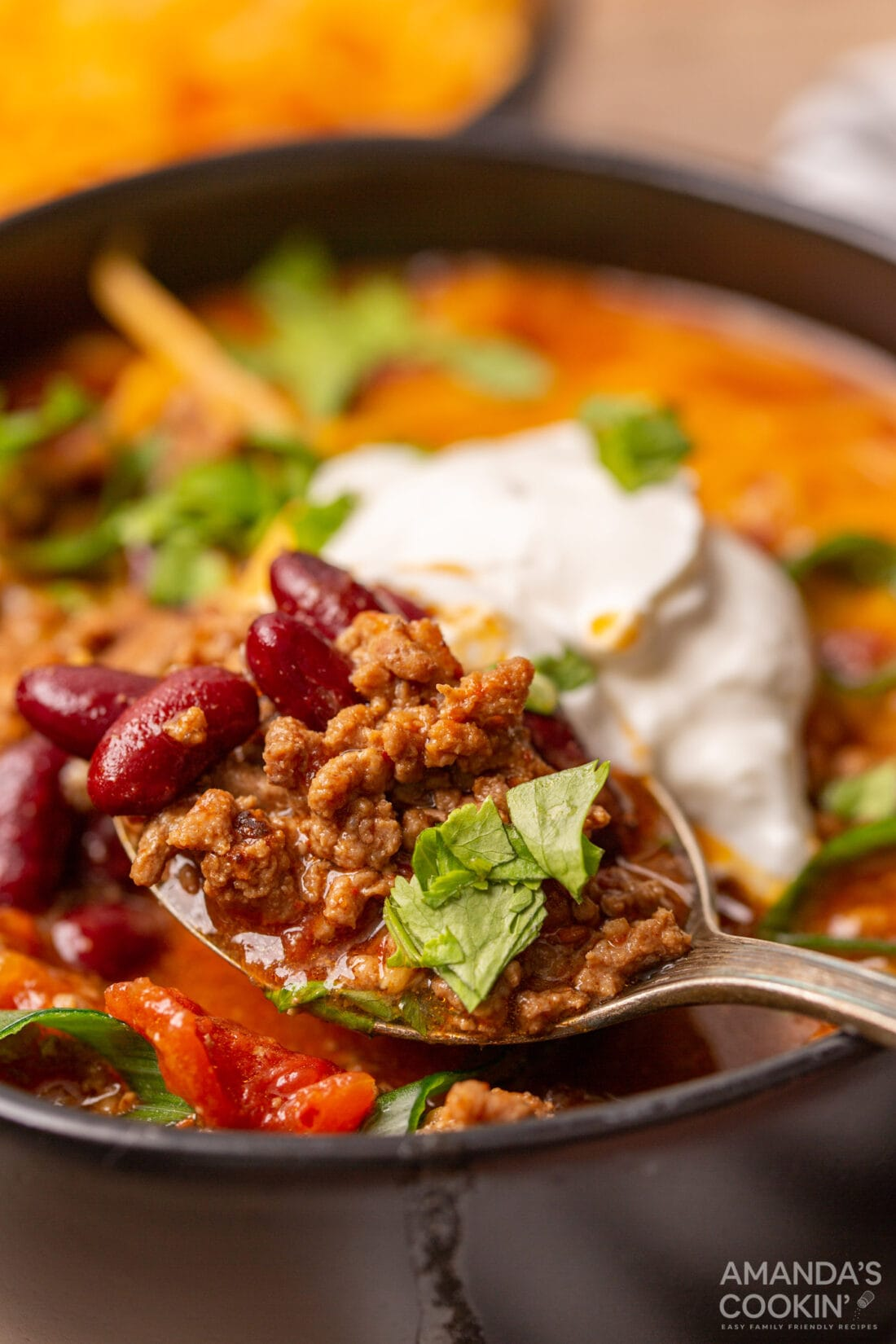 spoon of Instant Pot Chili