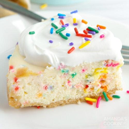 slice of Funfetti Cheesecake