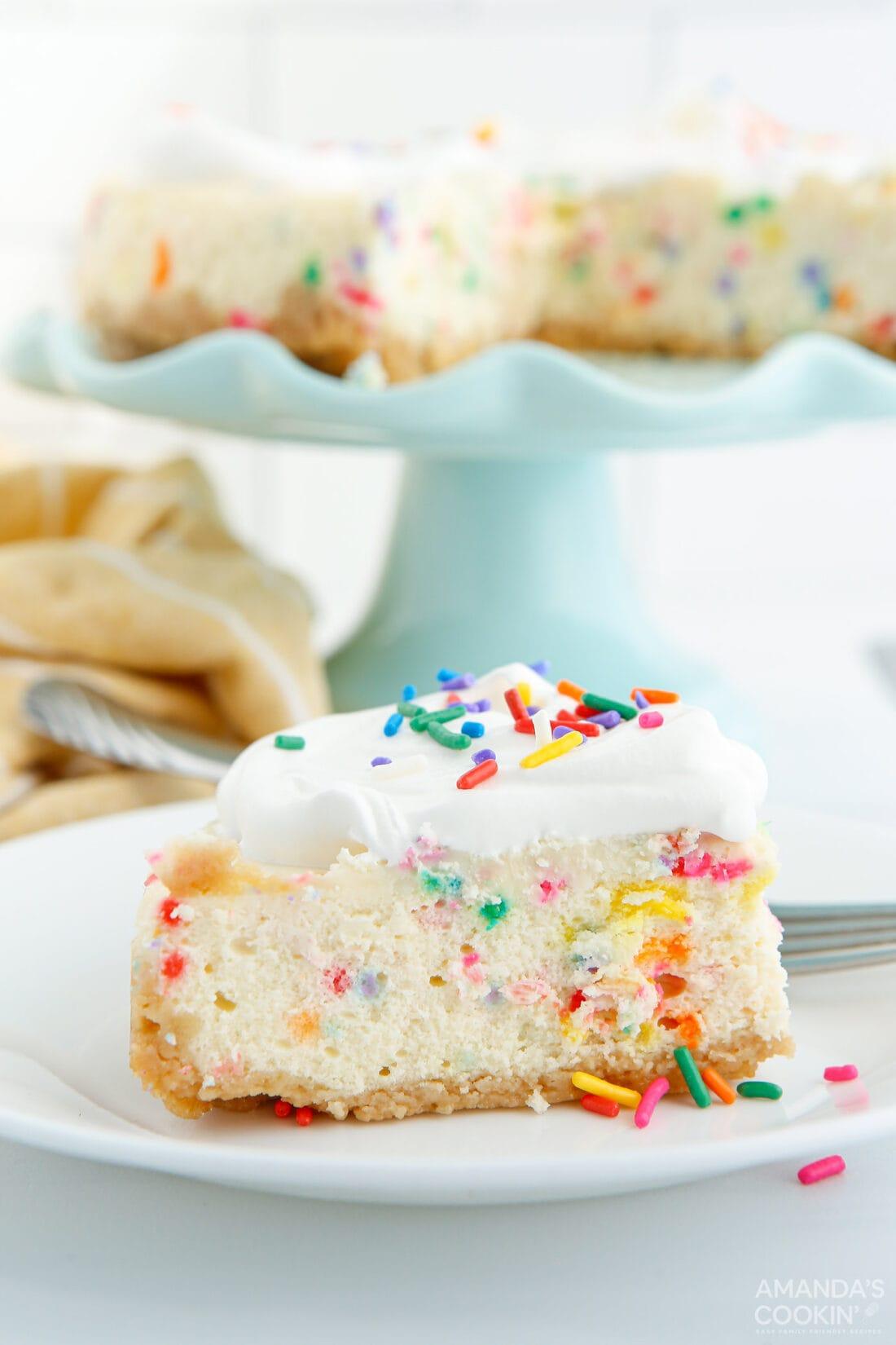 slice of Instant Pot Funfetti Cheesecake