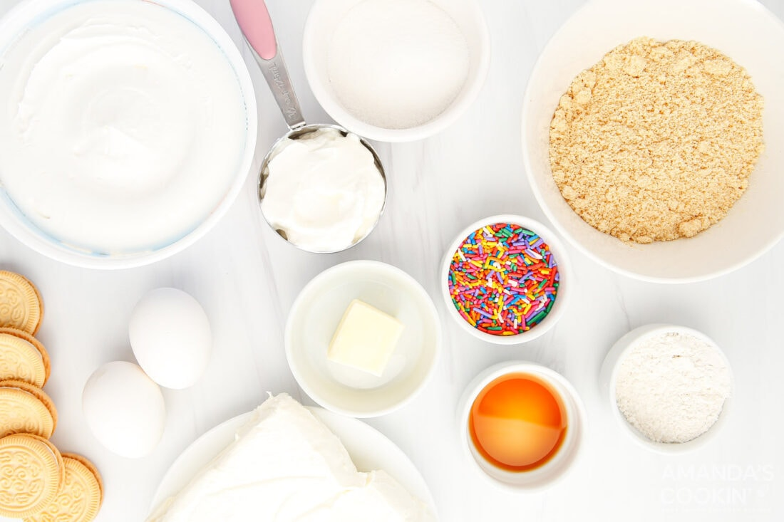 ingredients for Instant Pot Funfetti Cheesecake