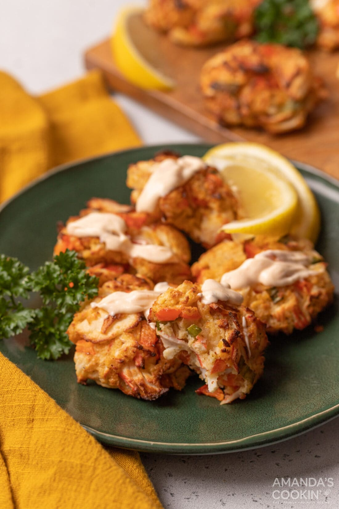 Air Fryer Crab Cakes on a plate