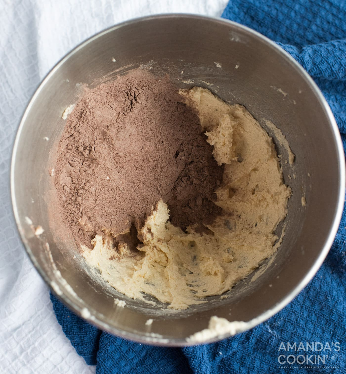cocoa and flour mixture in a mixing bowl
