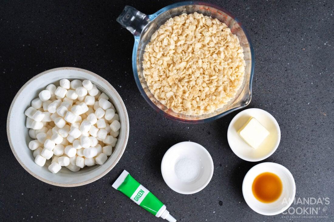 ingredients for Frankenstein Rice Krispie Treats