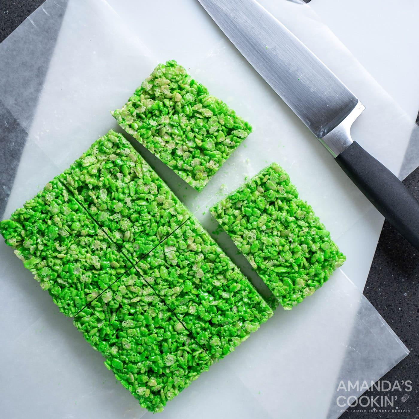 sliced green rice krispie treats