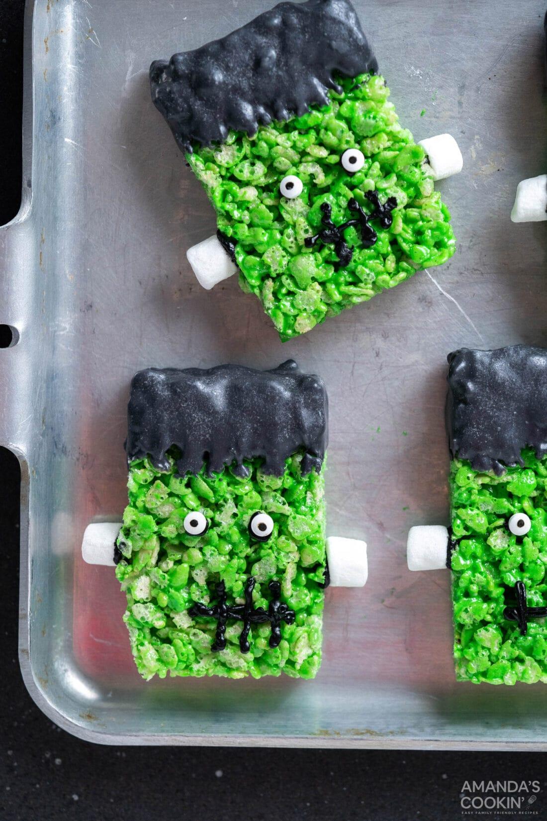 Frankenstein Rice Krispie Treats on a pan