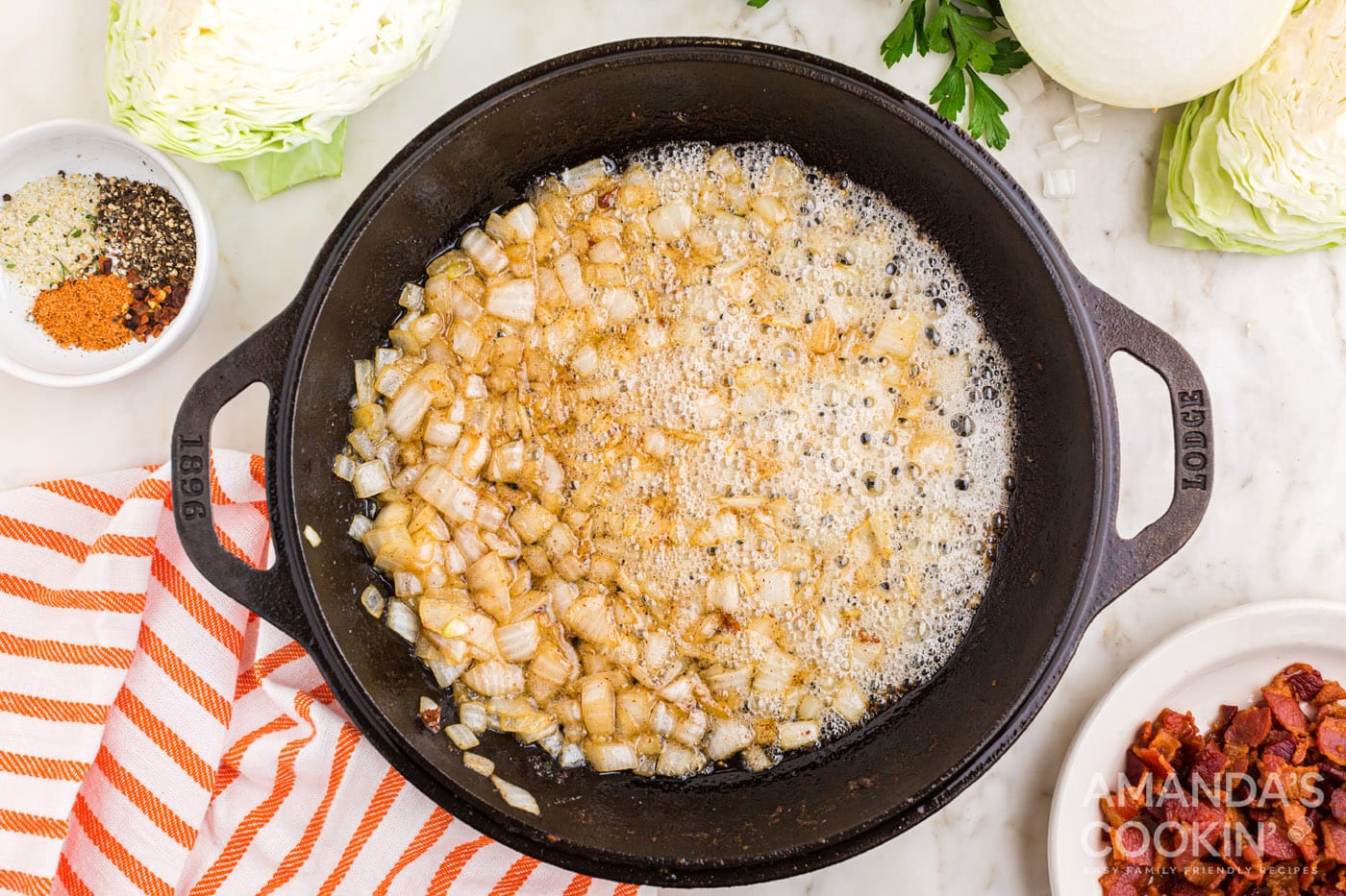 diced onion in a skillet