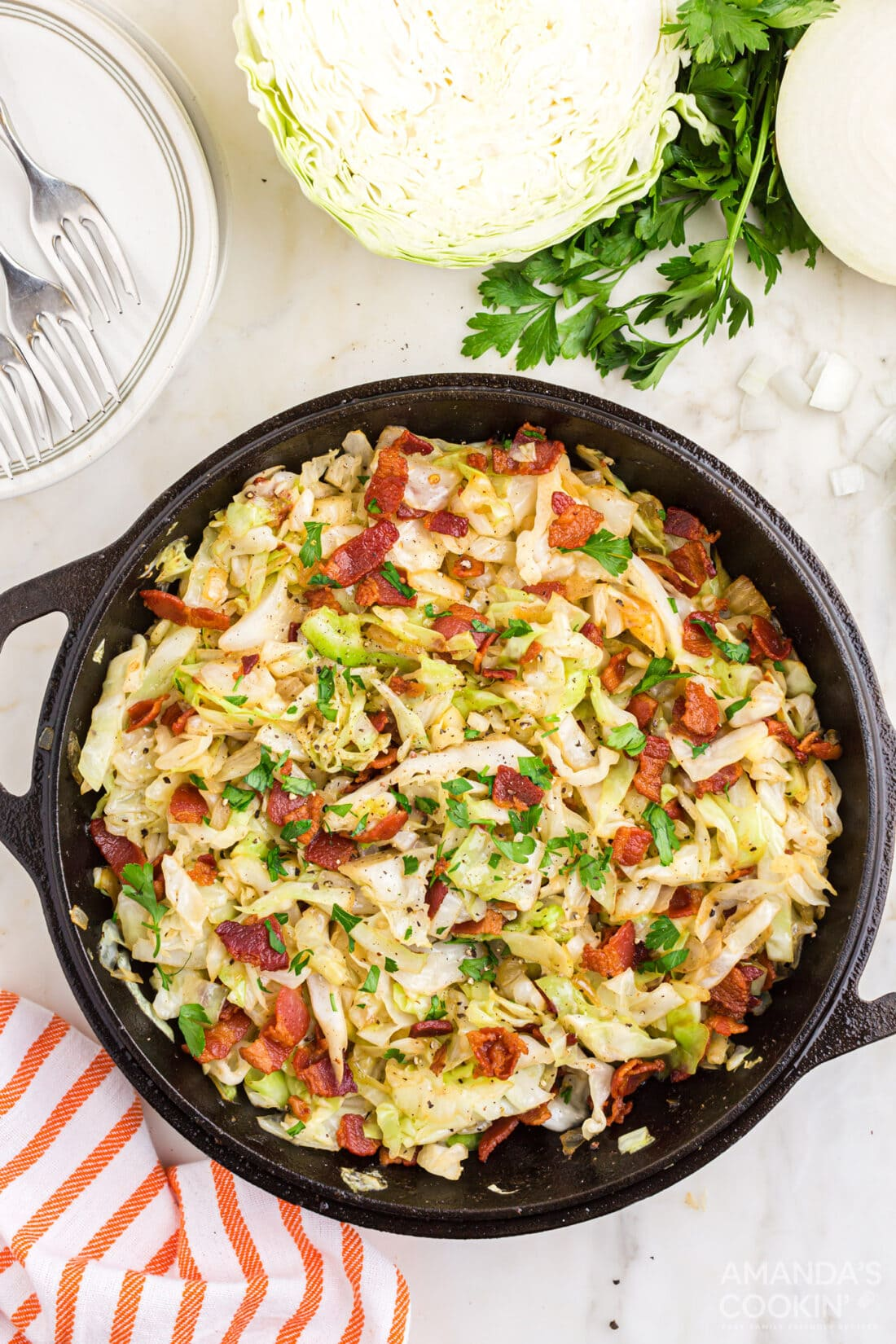 overhead view of Fried Cabbage in pan