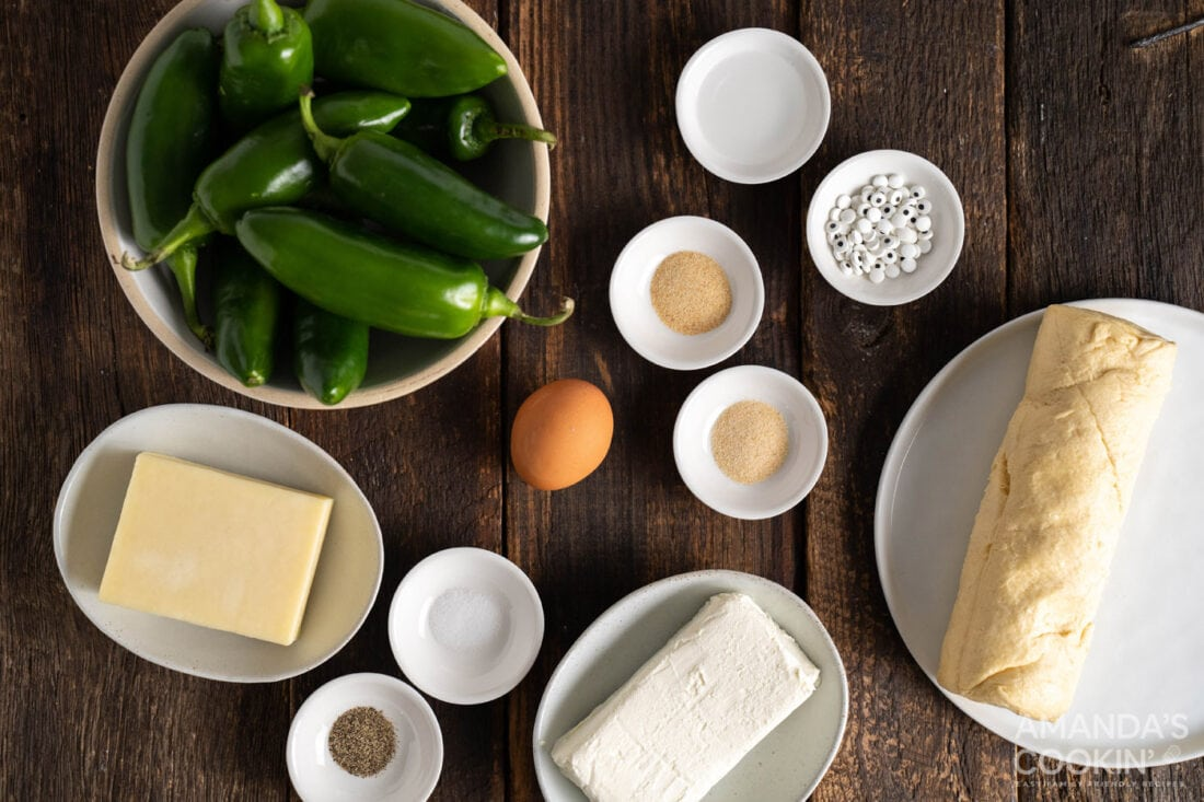 ingredients for Jalapeno Popper Mummies