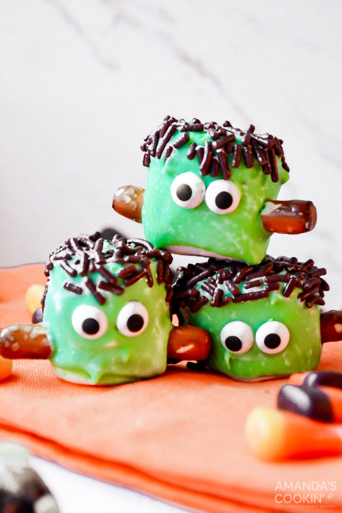 stacked Marshmallow Frankensteins