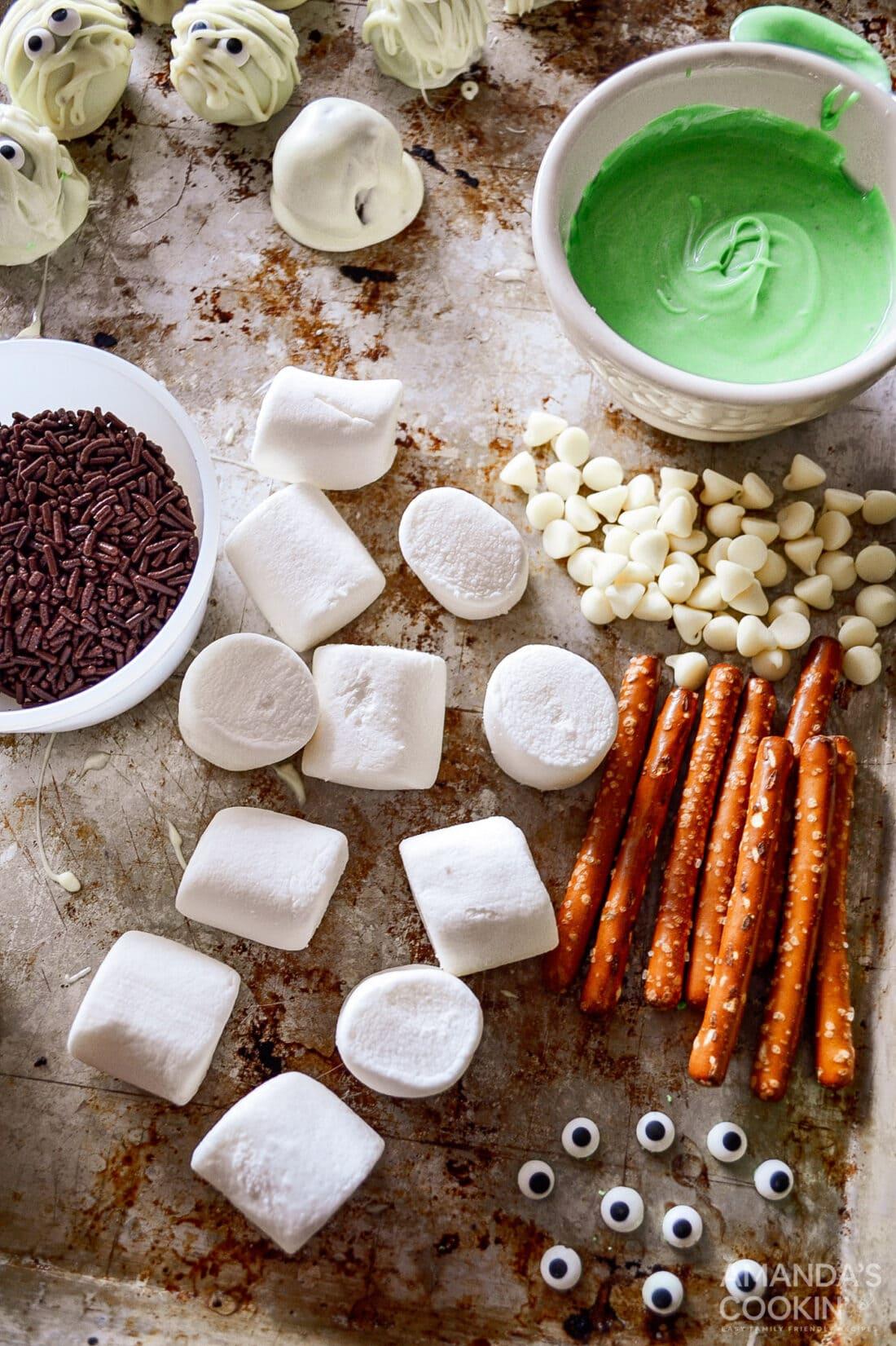 ingredients for Marshmallow Frankensteins