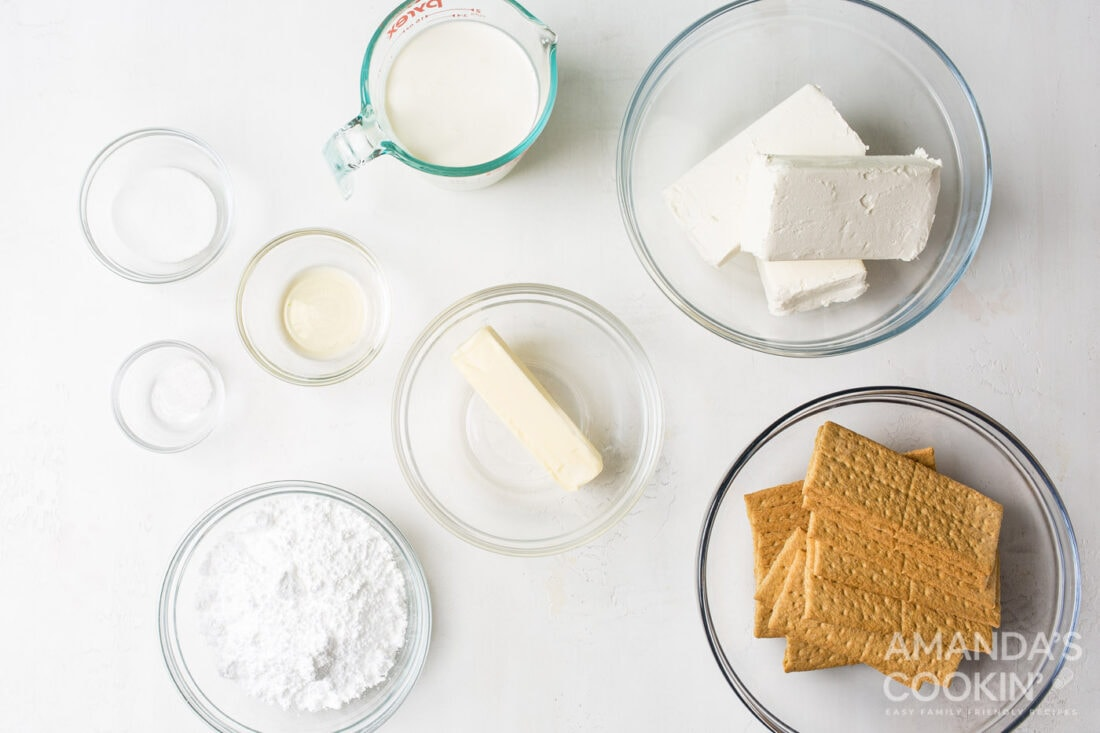 ingredients for No Bake Cheesecake Bars
