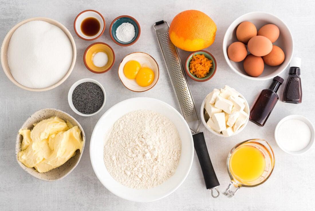 ingredients for Orange Poppy Seed Pound Cake