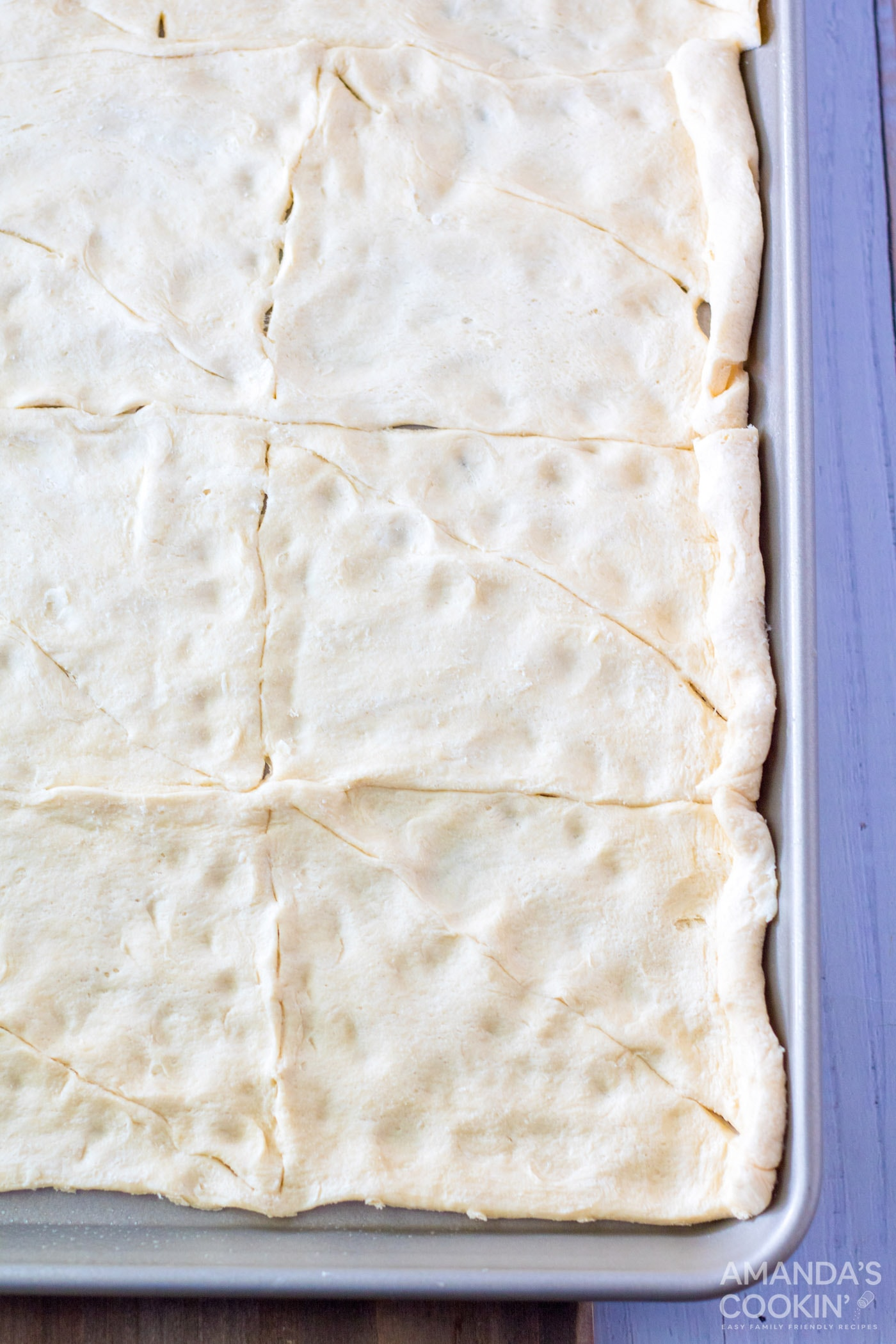 crescent dough on a sheet pan