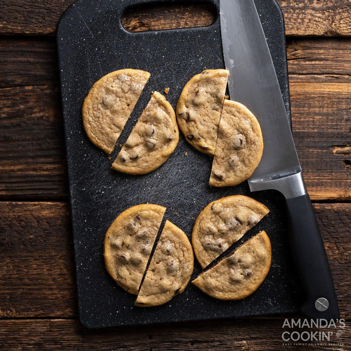 chocolate chip cookies cut in half