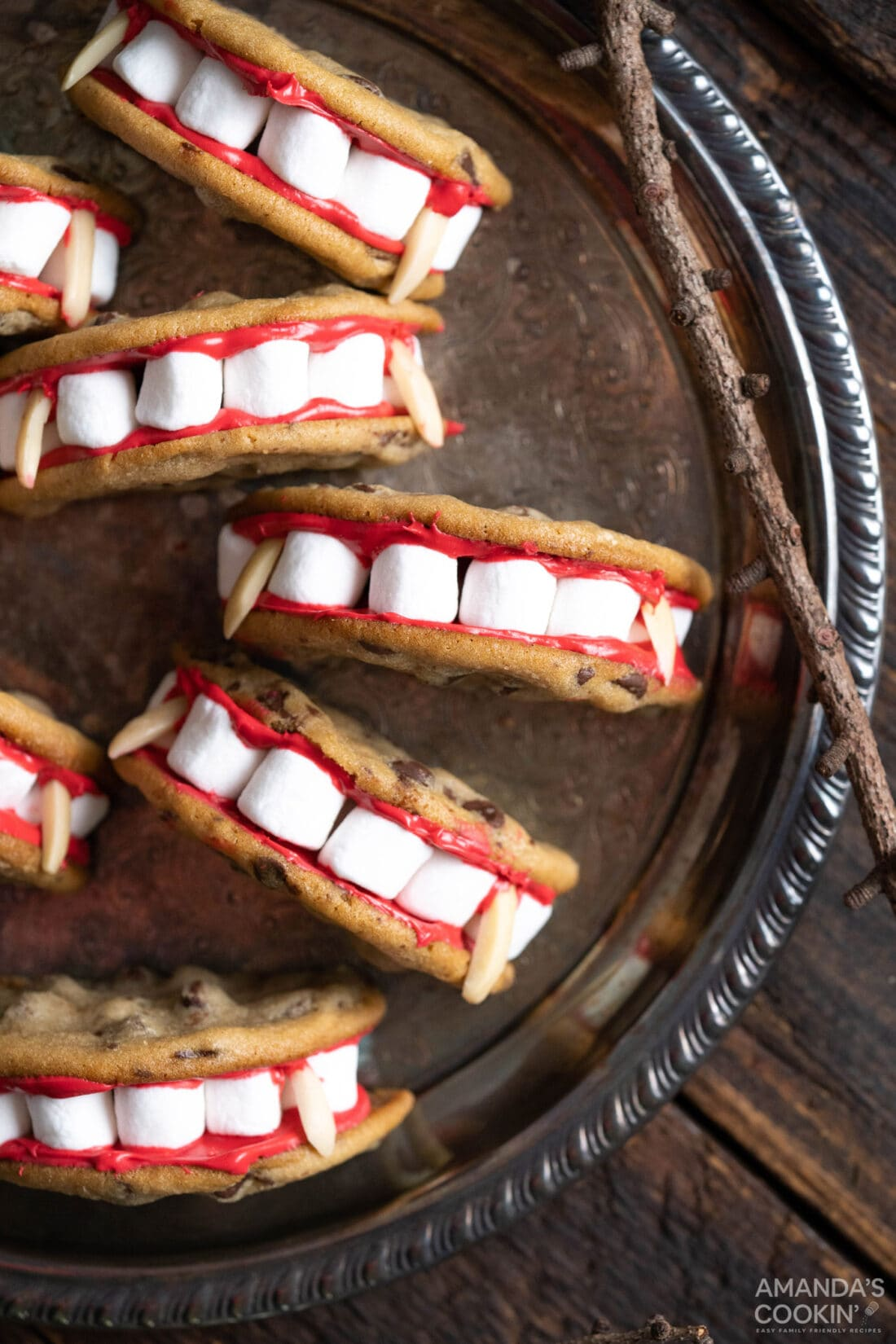Vampire Sandwich Cookies on a plate