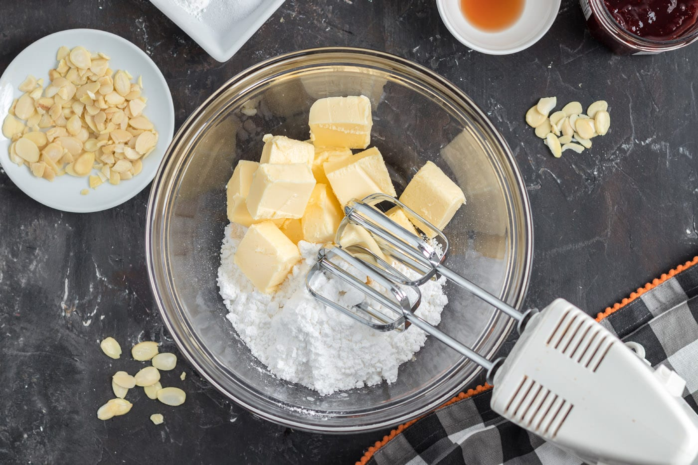 butter and powdered sugar in a mixer bowl