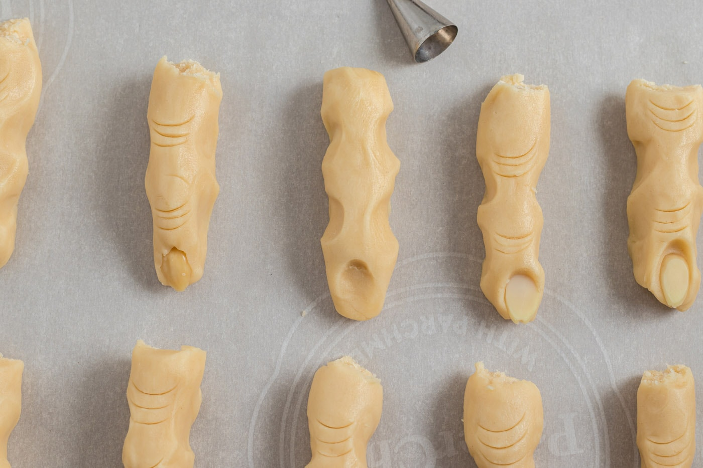 fingernail indents in cookie dough