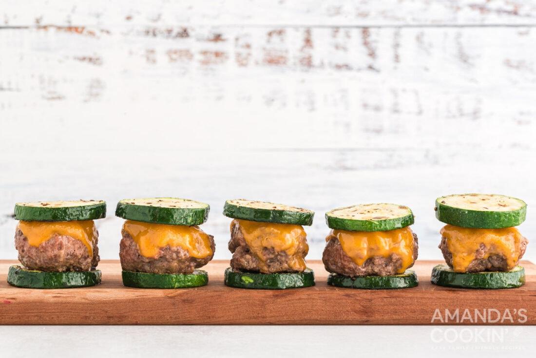 Zucchini Sliders on a cutting baord