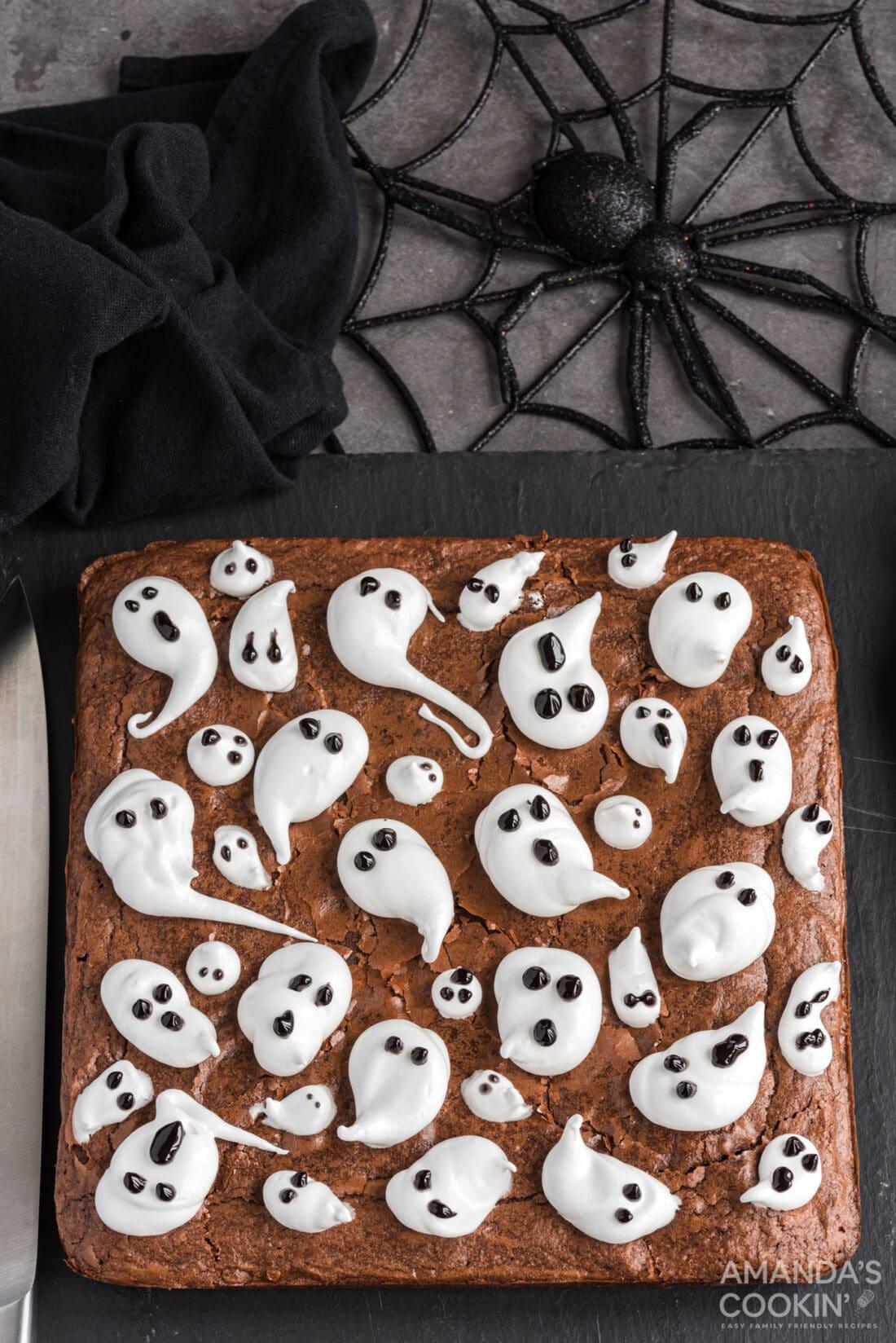 overhead view of Ghost Brownies