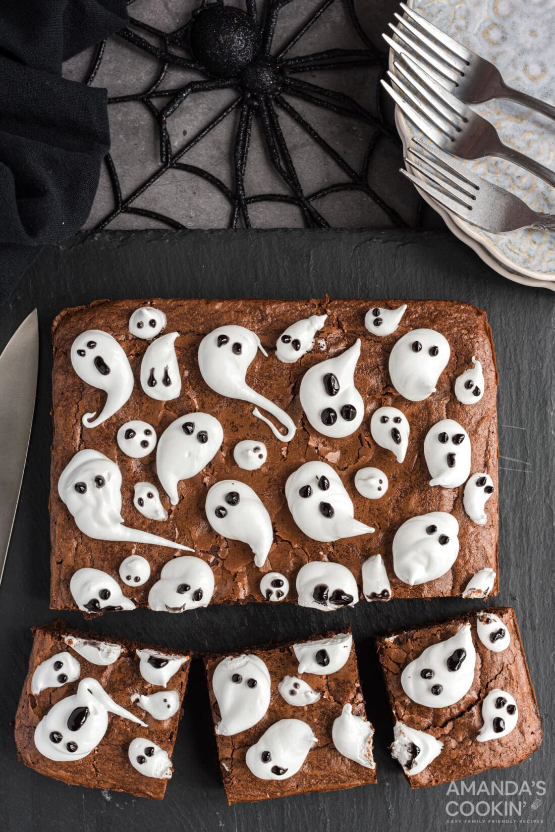 cut pieces of Ghost Brownies