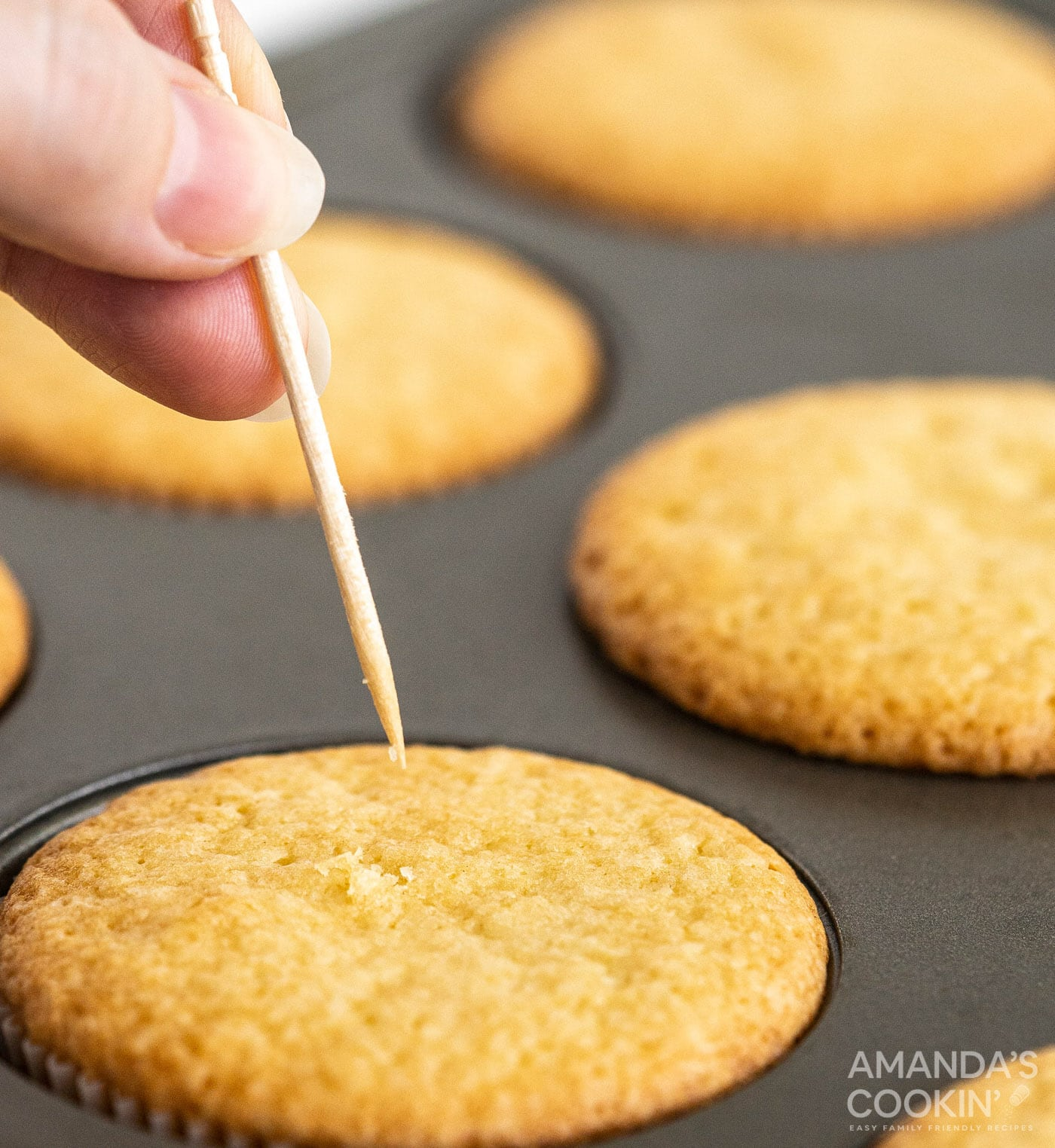 toothpick over pound cake cupcake