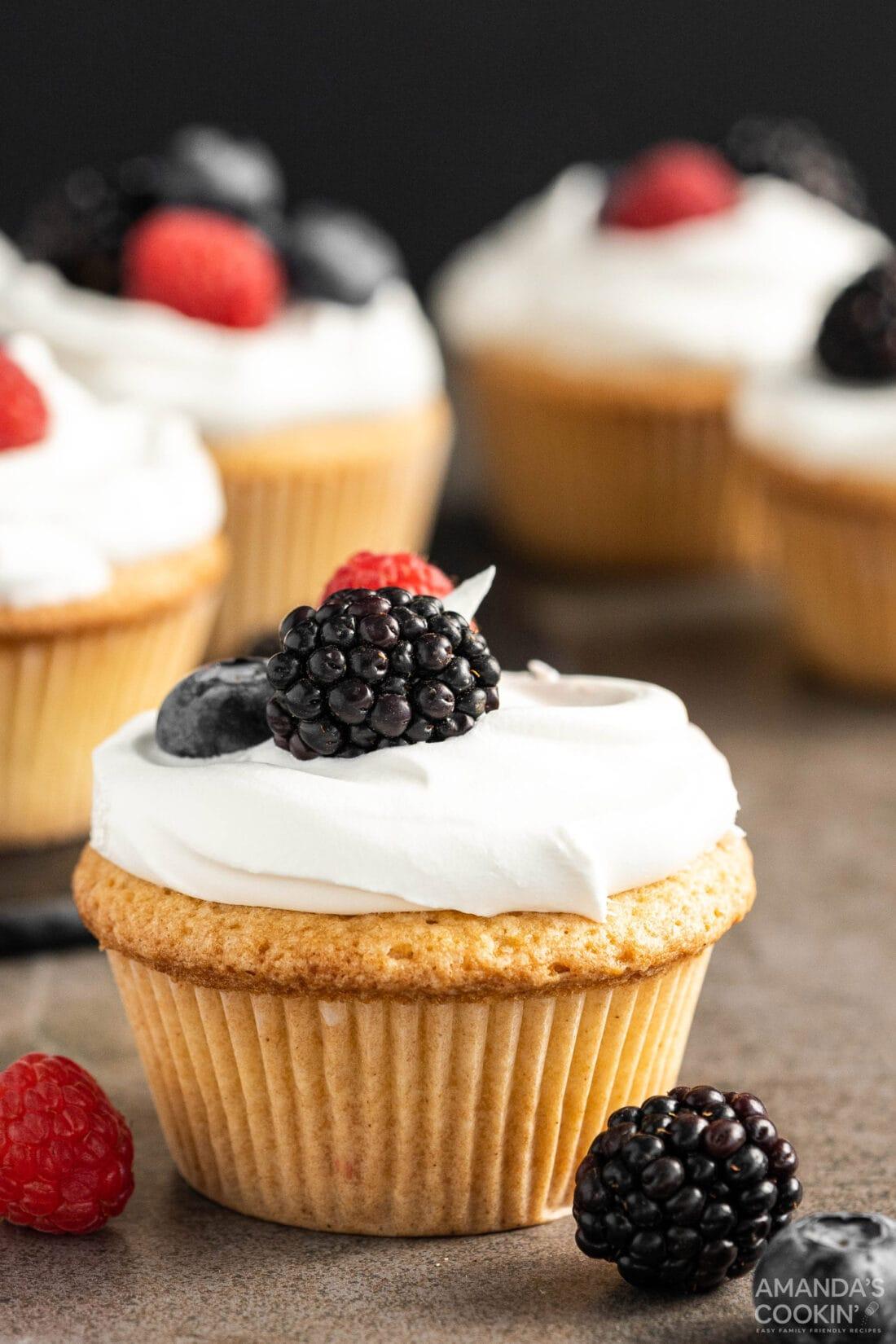 Pound Cake Cupcake with berry garnish