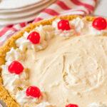 Root Beer Float Pie with cherry garnish