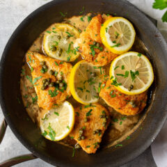 pan of Chicken Piccata