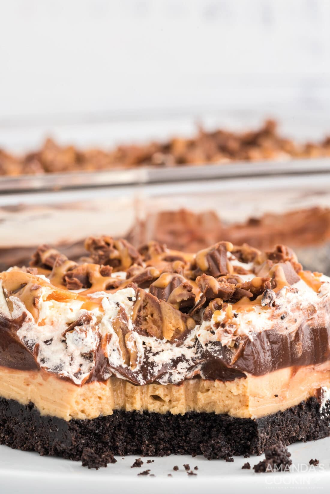 Chocolate Peanut Butter Lasagna  with a bite removed