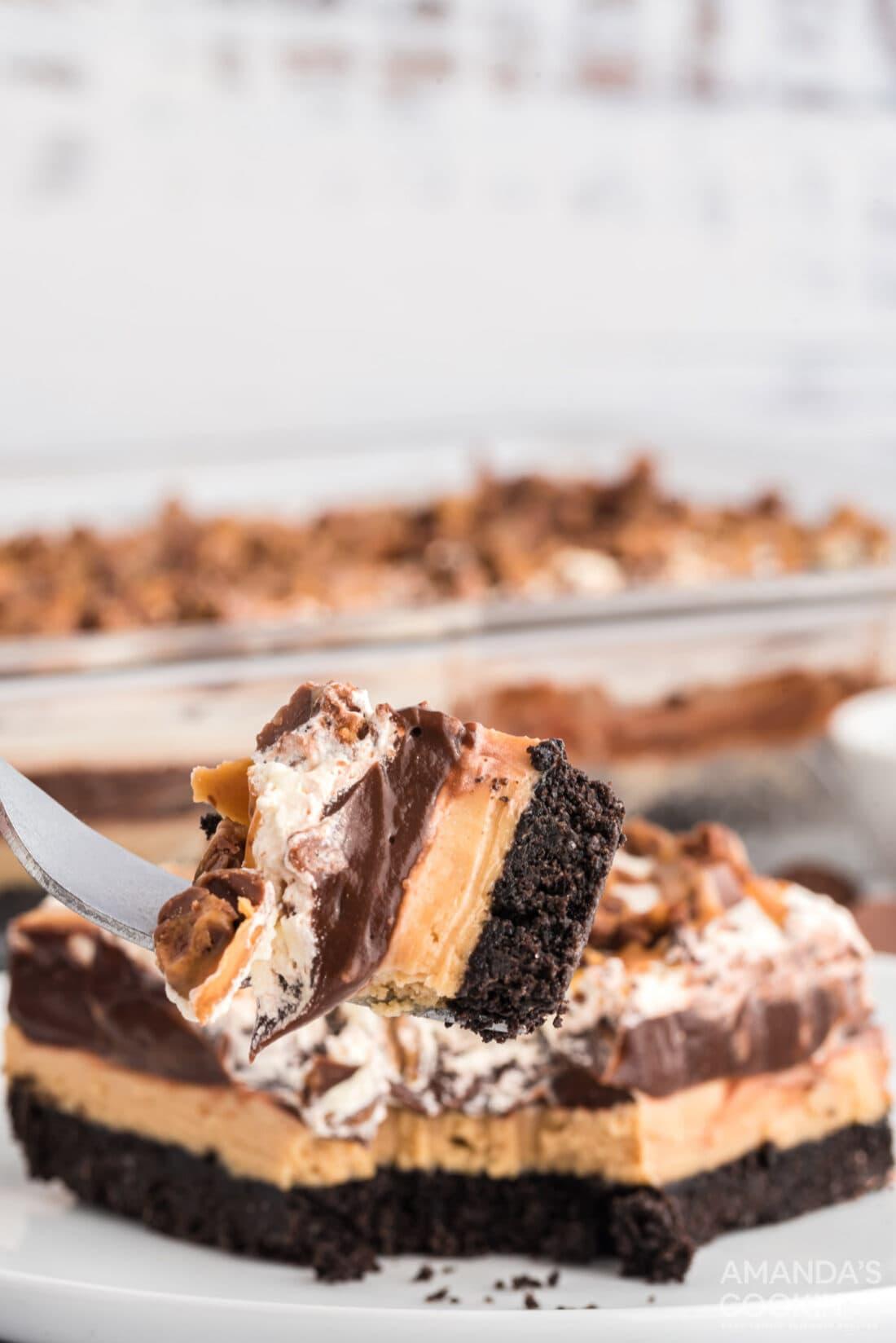 fork of Chocolate Peanut Butter Lasagna