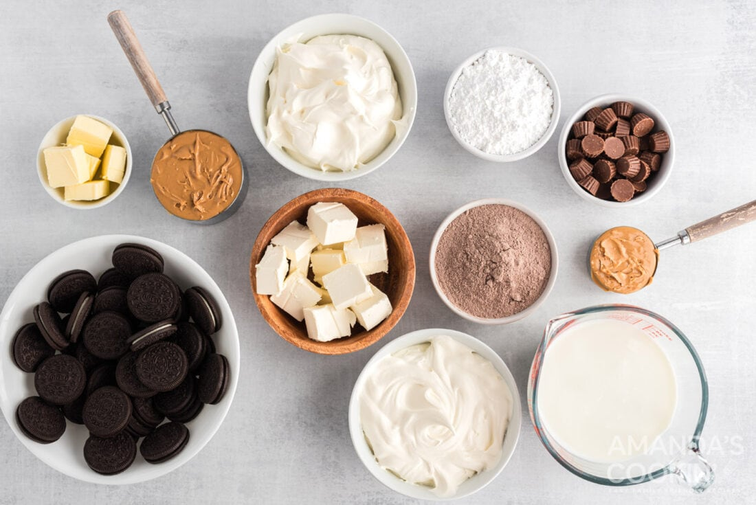 ingredients for Chocolate Peanut Butter Lasagna