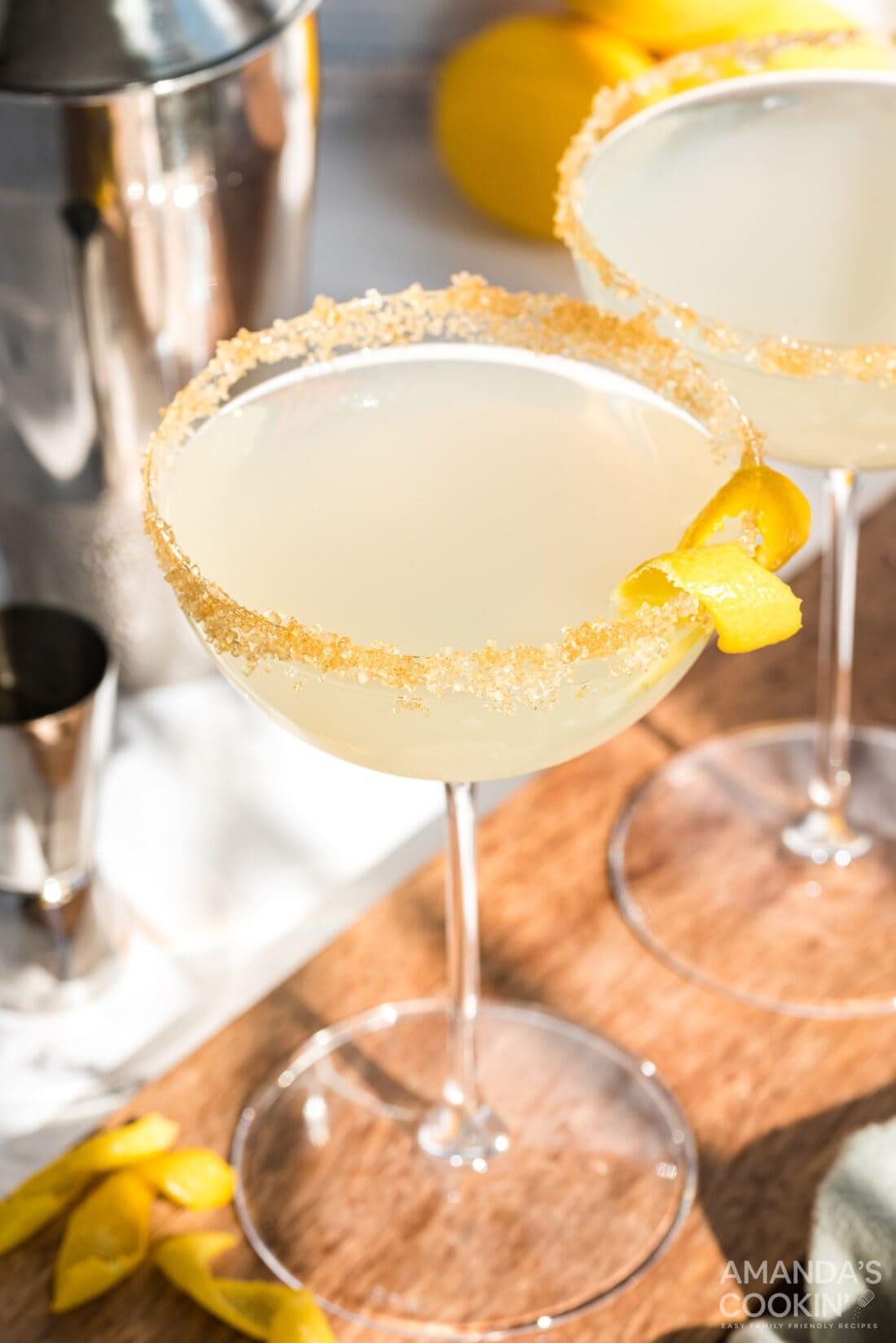 lemon drop in martini glass